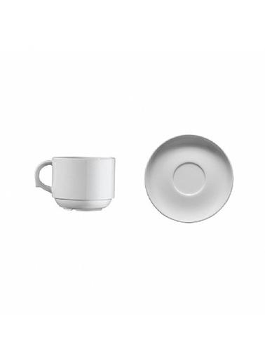 Kütahya Porselen Kütahya Porselen Çay Fincanı Tabaklı Dekorsuz 6'Lı Renkli